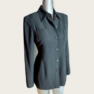 Bebe Black Button Front Light Jacket Size 4